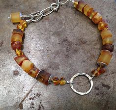 Beautiful Amber and 925 Silver Bracelet