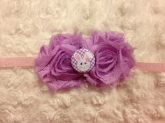 Easter Bunny Purple Flowers on Frosted Pink by HannahHeadbands, $8.00