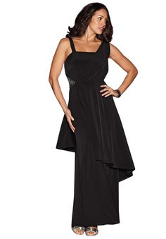 Plus Size Black Dress with Jeweled Clasp | Plus Size Special Occasion Dresses | Jessica London
