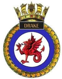 Crest of HMS Drake Navy Badges, Barrow In Furness, Navy Day, Military Cap, Naval History, Dragon Tattoo Designs, Emblem, Navy Ships, Submarines