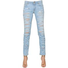 VERSUS Destroyed Stretch Cotton Denim Jeans ($245) ❤ liked on Polyvore featuring jeans, pants, light blue, torn skinny jeans, ripped blue jeans, blue jeans, distressed jeans and skinny jeans