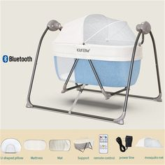Music Adjustable Speed Timing Uenjoy Automatic Baby Electric Basket Rocking Multifunction Baby Swing Cradle Bed,Remote or Panel Control Gray
