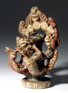 Vintage Mexican Ocumichu Pottery Devil Group - Martines