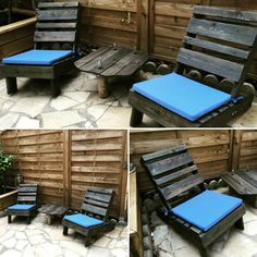 Adirondack style arm less chairs + mini table - 30 DIY Pallet Ideas for Your Home | 101 Pallet Ideas