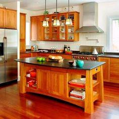 Contemporary Kitchen Island & Work Table from Richard Bubnowski Design, Model: Arts + Crafts Kitchen Island