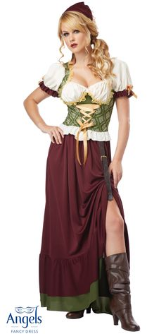 Gowns Pagan Wicca Witch:  The Renaissance Wench packet includes a #dress with adjustable corset and adjustable skirt length. Also included is a head scarf.