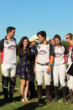 Jack Willis dress, Burberry clutch, and Harvard's polo team
