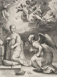 Hendrick Goltzius, The Annunciation, 1594. Engraving, state i/vi, plate 47.9 x 35.5 cm, sheet 49.4 x 36.9 cm. University of San Diego, Burgu...