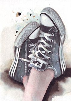 Blue All Stars -#Converse #Illustration in #Watercolor