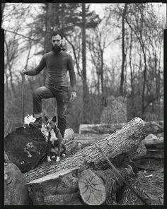 lumberjack and dog