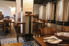 Located in a calmer street of the city center, Mestiansky pivovar is a pub of huge size, great cuisine and delicious tank beer. Combination of wooden furnit Bar Interior, Brew Pub, Cool Bars, Brewery, Bratislava, Barbecue, Table, Banana, Interiors