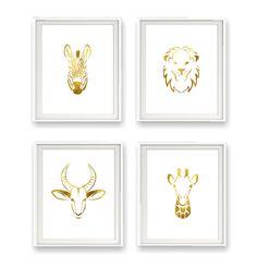 Safari Animal Collection, Set of 4 Prints, Giraffe, Zebra, Lion and Impala, Gold Foil Prints, Gold Nursery Decor, Animal Wall Art, Gold Art