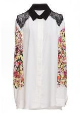 White Shoulder Lace Embellished Floral Chiffon Blouse $29