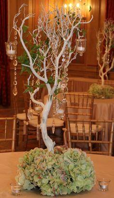 manzanita branches and antique hydrangea by AntebellumDesign.com
