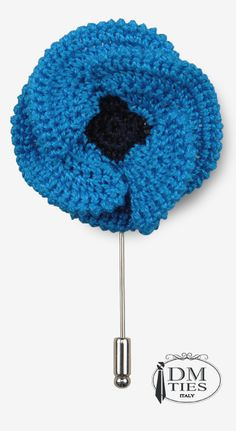 PAPAVERO - Spilla a fiore da giacca blu - Spille/bottoni da giacca