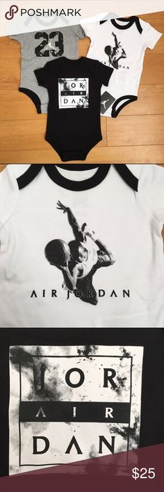 NWT Jordan 3-Piece Bodysuits BRAND NEW Nike Jordan 3-piece baby bodysuits. Soft 100% cotton fabric. Black/white/gray. snaps at bottom for easy diaper change. Screen printed images on front. Jordan One Pieces Bodysuits