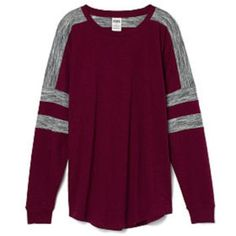 Maroon and white crew shirt I got this online, mine is maroon and white not maroon and grey. I will post more pictures later, but mine is in almost new condition with no holes or stains. Size XS but fits s/m PINK Victoria's Secret Tops