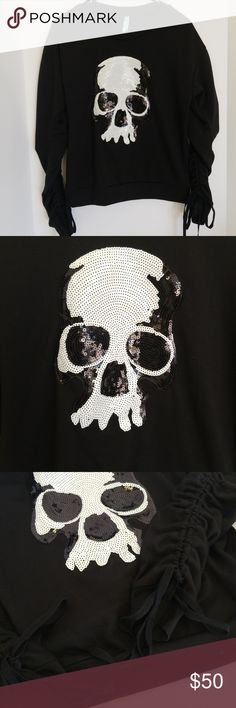 Indigo Tattoo Sequin Skull Sweater sz m Black sweater with rushed sleeves. Large black and white sequin skull patch on chest. Like new, never worn. Indigo Tattoo Sweaters Crew & Scoop Necks