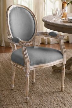 with Wheat-colored fabric; Oval Back Bergere Armchair - Oak Armchair, Dining Room Chair, Writing Desk Chair Upholstered Dining Chairs, Dining Room Chairs, Dining Room Furniture, Dining Tables, Outdoor Dining, Dining Rooms, Cool Chairs, Side Chairs, French Country Furniture
