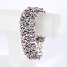 Chainmail Bracelet Pink and Silver Color Rhondo a la Byzantine by HCJewelrybyRose on Etsy