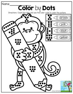 Color by Dots!  Great for counting, number sense and color word recognition! TONS of Back to School printables!