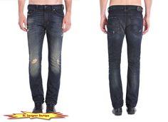 "DIESEL ""Thavar"" Slim Skinny Leg Dark Blue Distresses Jeans in 0835I NEW NWT…"
