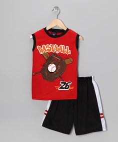 Take a look at this Red 'Baseball' Tank & Shorts - Toddler & Kids by Longstreet on #zulily today!