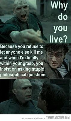 """Get it together, Voldemort. <--- honestly though, for all his """"brilliance"""", Voldemort is really the stupidest wizard alive. (Or dead.) remember what Hermione said in the first book? Ridiculous Harry Potter, Harry Potter Puns, Harry Potter Characters, Lol So True, Fans D'harry Potter, Potter Facts, Philosophical Questions, Funny Memes, Hilarious"""