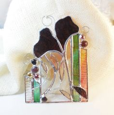 Abstract Art With Purple Ginkgo. Stained Glass by jacquiesummer, $32.00