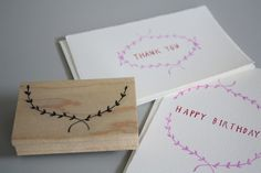 """Approximately $28.00 NZD  this rubber stamp has diva's original illustration of an open leaf garland. perfect for making your own personal stationery, gift tags, or other crafting/decorations. pair with 'thank you' stamp or 'happy birthday' stamp for the ultimate correspondence cards. approx. 3.25""""x2"""""""