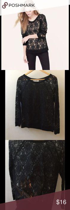 LOFT lace sweatshirt Preloved, Loft long sleeve Sheer Lace Sweatshirt, size S in very good condition LOFT Tops Sweatshirts & Hoodies