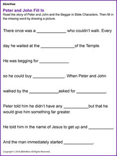 Peter, John, and the Crippled Beggar - Kids Korner - BibleWise Free Sunday School Lessons, Bible Lessons For Kids, Sunday School Crafts, Bible For Kids, Bible Games, Bible Activities, Bible Story Crafts, Bible Stories, Kids Church
