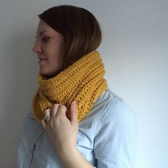 Women's Knitted Cowl Scarf || Chunky Knitted Circle Scarf || Mustard Yellow || SONJA COWL by thelittlefoxes on Etsy