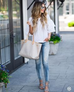 """3,830 Likes, 90 Comments - Hollie Woodward (@holliewdwrd) on Instagram: """"Casual Monday Ruffle sleeves + ripped jeans ($64) on HollieElizabeth.com with @nordstrom today…"""""""