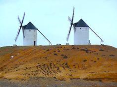 The classic windmills of La Mancha in Spain