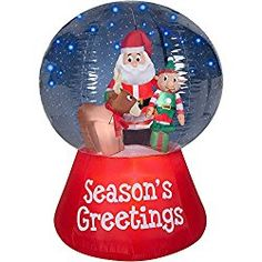 gemmy airblown inflatables christmas inflatable snowglobe with glimmer led santa scene 55 outdoor christmas