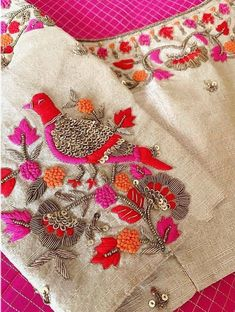 Blouse of frock with banarsi duppata Hand Embroidery Dress, Embroidery Neck Designs, Bead Embroidery Patterns, Embroidery Suits Design, Embroidery Fashion, Beaded Embroidery, Zardosi Embroidery, Embroidery Blouses, Cutwork Blouse Designs
