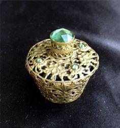 Antique Czechoslovakian Jeweled Gold Filigree Metal Encased Perfume Bottle in Antiques, Decorative Arts, Glass | eBay