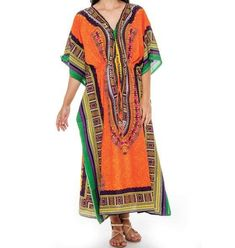 Women's Dashiki Print Dress Boho Caftan Beach Cover up Vintage Maxi Kaftan Plus  #DecoraApparel #KaftanDressCaftan #Casual