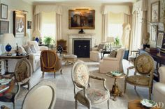 creamy, dreamy perfection and sinuous arrangement ~ Albert Hadley design