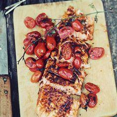 grilled salmon w/ hot pepper + orange peel, grilled cherry tomatoes + greek yogurt (original is in polish - use your favorite translator)