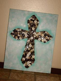 Button Cross on Canvas    Facebook.com/gluedtomycrafts  Gluedtomycrafts.blogspot.com