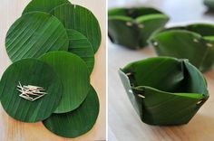 You start by cutting banana leaves into inch rounds and then pleating the edges and securing them with toothpicks to form little bowls. Thai Recipes, Organic Recipes, Asian Recipes, Thai Basil Leaves, Decoration Evenementielle, Thai Dessert, Leaf Bowls, Leaf Crafts, Food Packaging Design