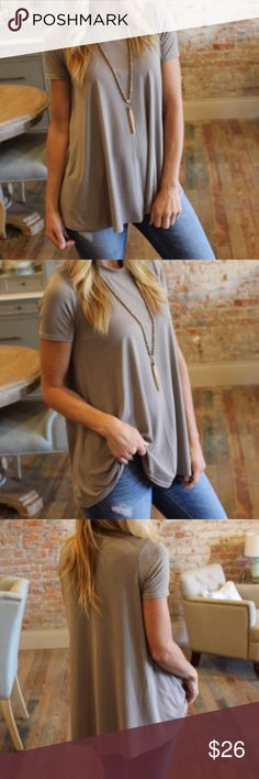 🆕 Listing - Taupe Short Sleeve Top ❌No trades  - ❌ ALL sales are final 💗Be courteous no low balls 💌Reasonable offers accepted 📦 Ships out same day or next - depending what time of day you ordered ⬇️Have a question? Leave a comment 😀  Product Info📝 🔗Super soft☁️☁️ 🔗Color: Taupe 🔗87% Polyester 🔗13% Spandex Tops Tees - Short Sleeve