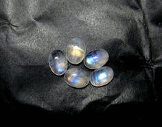 5 pieces lot of Rainbow Moonstone Gemstone blue by finegemstone, $21.60 #6x8mm #rainbowmoonstone #moonstone #cabochons #gemstone