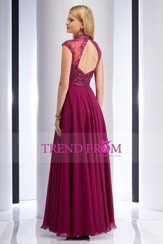 2016 Burgundy/Maroon High Neck Beaded Bodice Open Back Floor Length A Line Prom Dresses Chiffon