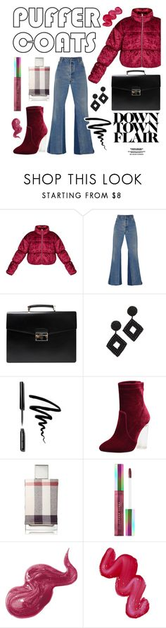 """Downtown Flair"" by jasmineraco ❤ liked on Polyvore featuring RE/DONE, Prada, Kenneth Jay Lane, Bobbi Brown Cosmetics, Burberry, Puma, Australis and puffercoats"