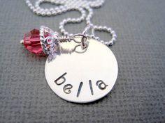 Handstamped necklace bella sterling silver jewelry by marybeadz, $30.00