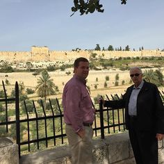 The Elder and I standing across from the walls of the Temple. The part of the wall that is elevated is the Eastern Gate. It is walled up now, but Jesus will make his triumphant return through this Gate.