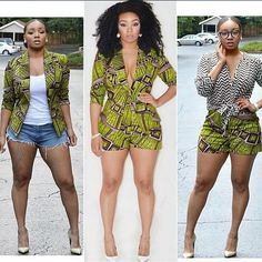 African jacket,jumper and shorts! Green and purple African print; African Print Dresses, African Wear, African Attire, African Women, African Dress, African Prints, African Style, African Inspired Fashion, African Print Fashion